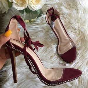 Shoes - New Burgundy clear strappy heels with studs